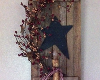 Tobacco Wood Shutter with Candle and Berries