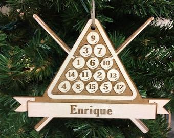 Billiards #3 Personalized Christmas Ornament