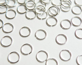 100 Jump Rings open round shiny silver plated iron 8mm 21 gauge PJRG8mm