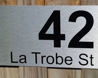 custom personalised house number plaque 400mm x 200mm