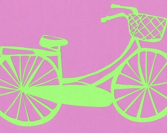 Handmade bicycle papercutting with basket