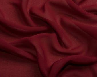 0095 Burgundy Chiffon Fabric, Soft Chiffon fabric, Fabric by the meter, bridal dress, Lingerie fabric-1 meter