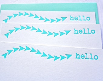 Hello Letterpress Stationery Arrow Swirl Aqua Blue