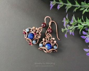 Lapis Lazuli Earrings, Wire Wrapped Earrings, Copper Earrings, Boho Earrings, Teardrop Earrings, Wire Wrap Earrings, Wire Wrapped Jewelry