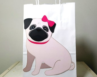 Pug Puppy Dog Party Favor Bags, Goody Bags, Gift Bags - Pug Favor Bags, Pug Goody Bags, Girl Pug Sitting (5317310A)