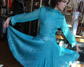 Vintage Late 60's early 70's Aquamarine Party Dress