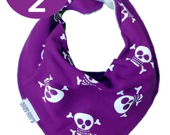 2 x Purple Skull & Crossbones Trendy Dibble Bib / [Set of 2] Baby Bandana Bib for Boy or Girl, Punk New Baby Shower Gift