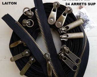 Kit 5.8 MM metal zipper closure black / brass / old brass X 5 meters + 12 YKK sliders