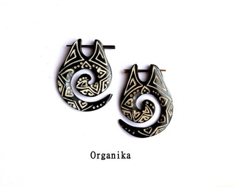 Tribal Bone Pin Earrings - Pair