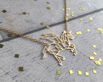 Unicorn Necklace, Unicorn gift, Unicorn Pendant, Unicorn jewellery, Geometric Unicorn Necklace, mythical jewellery, Unicorn Birthday