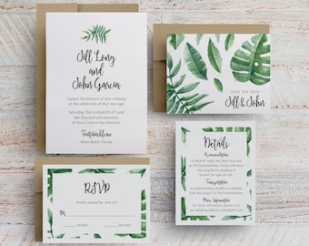 palm leaves wedding invitations, banana leaf wedding invitations, banana leaves invitation, leaves wedding invitations, printable