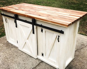 Awesome Kitchen Island With Sliding Barn Door
