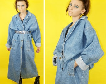 Denim 90s Light Wash Trench Coat, 90s Grunge Denim Duster, Vintage Thin Denim Long Line Blazer, Women's Size Medium-Large