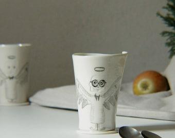 handmade porcelain mug, funny coffee mug with illustrated porcelain angel with glasses, porcelain mug with angel illustration, nice mug