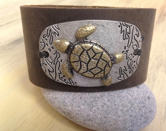 """Leather Cuff Bracelet """"Save the Sea Turtles"""" Soft Brown Suede Cuff with Sea Turtle Focal piece"""
