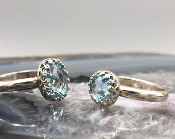 swiss blue topaz ring - topaz ring - single stone ring - soitaire ring - sterling silver ring - simple ring - filligere ring