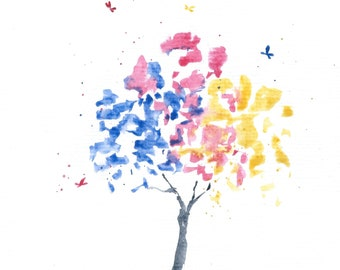 Rainbow Tree Painting, Original Watercolor Landscape Painting, Watercolor Tree Art, Colorful Watercolor Painting, Small Original Art A5