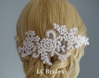 Bridal Lace Pearl Hair Piece, Bridal Lace Hair Piece, Bridal Lace Hair Comb, White, Swarovski Pearl, Bridal Hair Comb