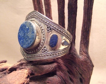 Tribal silver cuff bracelet -- old Kuchi jewelry -Lapis stones -- heavy patina FREE SHIPPING SALE