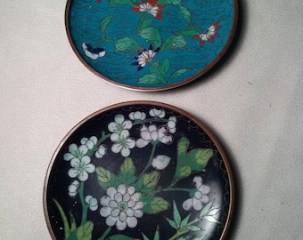 Two Antique Chinese Cloisonne Pin Dishes