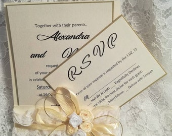 Vintage Wedding Invitation /Save the date/, Gold,