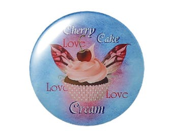 Set of 2 fairy cakes round 30mm glass cabochons