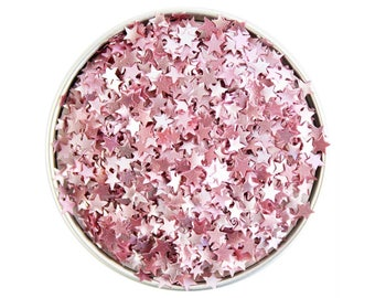 Light Pink Star Edible Glitter - metallic light pink star glitter sprinkles, edible pastel pink glitter stars, pink star sprinkles