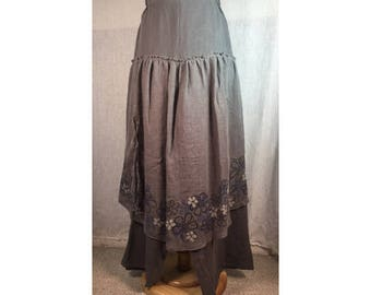 Synthesis Flax Linen Skirt Pant Asphalt Gray XL  Ready to Ship by Blue Fish Red Moon Clothing