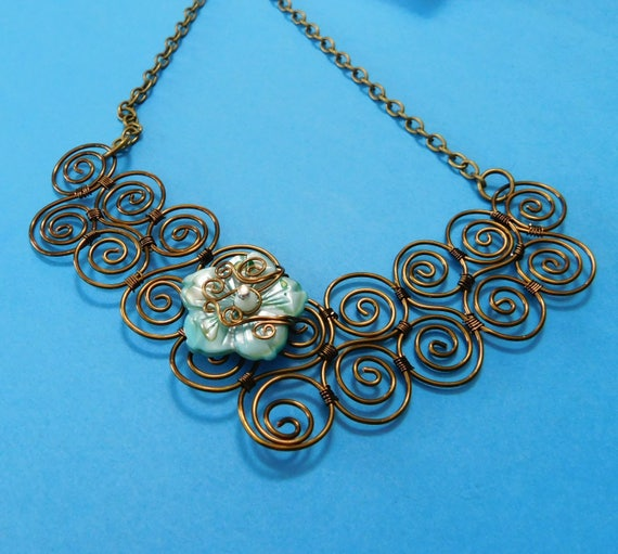 Bib Necklace Statement Flower Jewelry Artisan Crafted Unique Wire Wrapped Scroll Work Artistic Handmade Wearable Art Present Ideas for Women