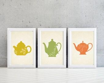 Kitchen Art. Teapot Kitchen Prints. Kitchen Decor. Teapot Decor. Teapot Art. Wall Art. Home Decor. Teapot Prints (NS-633)