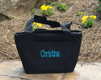 Personalized Name or monogrammed Black Lunch Tote Bag embroidered- cooler bag liberty