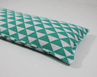 Headache & Eye Rice Bag - 4.5 x 10 inches, hot or cold therapy pack, teal and white triangle pattern, rice heating pad