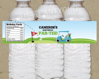 DIY Golf PAR-TEE Birthday Party Water Bottle Labels - Digital U Print