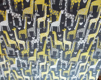 Michael Miller Giraffe Love in Gray - you choose the cut