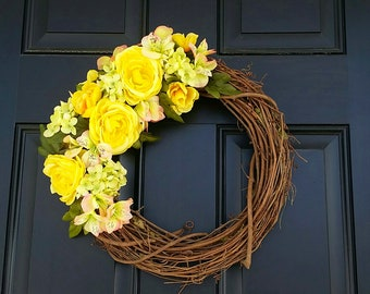 Yellow Spring Wreath with Roses, Hydrangea and Asromeria | Add an initial || Bright Spring and Summer florals | Home Decor | Mother's Day