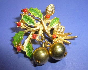 Christmas Holly Vintage Brooch with Berries, Cones & Golden Ball Ornaments, 1970s