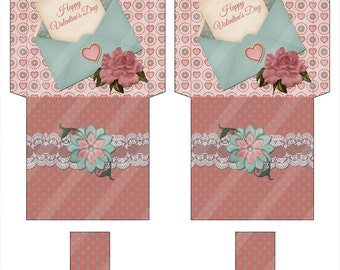 Digital Printable Valentine Tea Bag Envelope 001