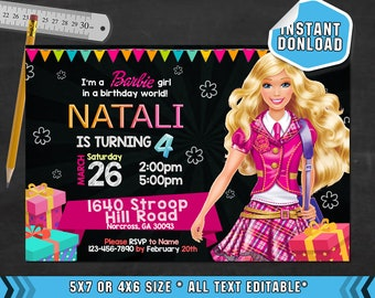 Barbie Invitation, Barbie Birthday, Barbie Party, Barbie Invites, Barbie Invite, Barbie Card,Barbie Invit, Printable, Barbie, F0201