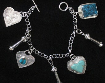 Beautiful Sterling Silver Turquoise Charm Bracelet W/ Hearts & Squash Blossoms
