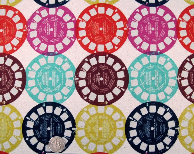 Melody Miller VIEWMASTER Cotton Linen Japanese Fabric - Home Dec Weight RARE and Out of Print Fat Quarter