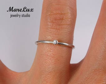 Lavender Diamond Stackable Silver Ring, Lavender Synthetic Diamond Cubic Zirconia Ring, 1.5 mm Round Cut Lavender CZ Dainty Stacking Ring