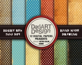 12 Retro Denim Polkadots pattern, digital paper - wallpaper -