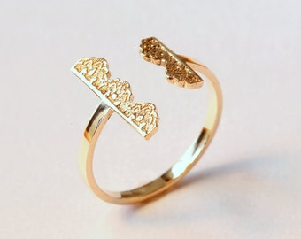 Open Gold Ring, Gold Bar Ring, Open Band Ring, Two Bars Ring, Rose Gold Open Ring,Gold Lace Ring,14K Gold Open Ring,Gold Cuff Ring,Statement