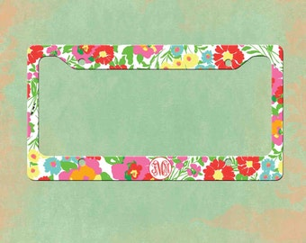 Monogrammed License Plate Frame - Lilly Pulitzer Inspired  Personalized Monogrammed License Plate Car Tag  sc 1 st  Etsy & Lilly Pulitzer License Plate Frame Lilly Pulitzer Inspired