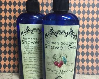 Cherry Almond Shower Gel - Liquid Soap, Body Wash, Bubble Bath - 8oz - Vegan, Hypoallergenic, Cruelty-Free Soap