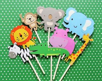 Set of 25 Jungle/Safari/Zoo Cupcake Toppers