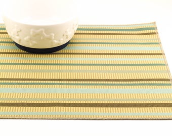 Waterproof Cat Food Mat, Choose Your Size, Dog Placemat, Non Slip Dog Food Mat, Cat Placemat, No Mess Mat, Incontinence,Cream Blue Stripes
