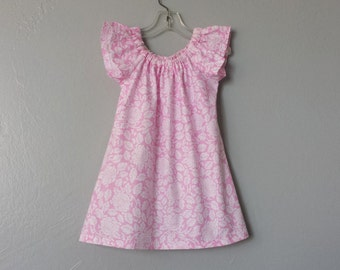 Little Girls Pink Dress - Pink with White Roses - Pink & White Flutter Sleeve Dress - Handmade Dress - Size 12m, 18m, 2T, 3T, 4, 5, 6 or 8