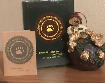 "Boyds Bears Ornament - Rare 1996 Collectible Ornament - Edmund ""Deck The Halls"""