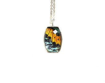 Rainbow Butterfly Wing Necklace Real Sunset Moth Pendant Mother's Day Faceted Glass Crystal Necklace Bridesmaid Jewelry Best Friend Necklace
